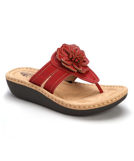 80a9453053cd Cliffs by White Mountain Red Carnation Wedge Sandal
