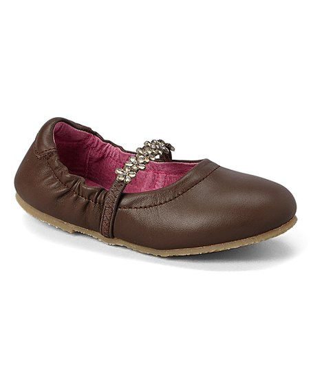 Brown Rhinestone Leather Mary Jane - Girls