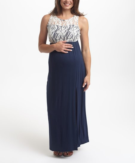 4662b690f719 PinkBlush Maternity PinkBlush Navy Blue Lace Maternity Maxi Dress ...