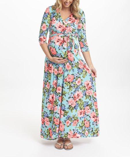 e890a0534a3a love this product PinkBlush Aqua & Neon Floral Maternity Maxi Dress
