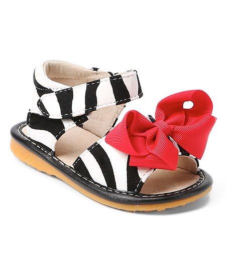 d004c8b38b Laniecakes Black   White Zebra Bow Squeaker Sandal