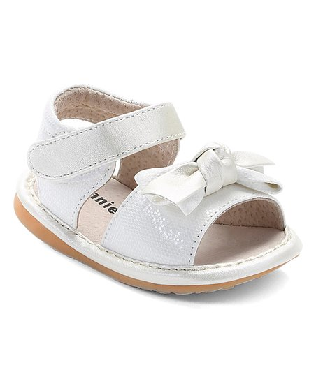 cc92163683 love this product White Bow Sparkle Squeaker Sandal - Girls