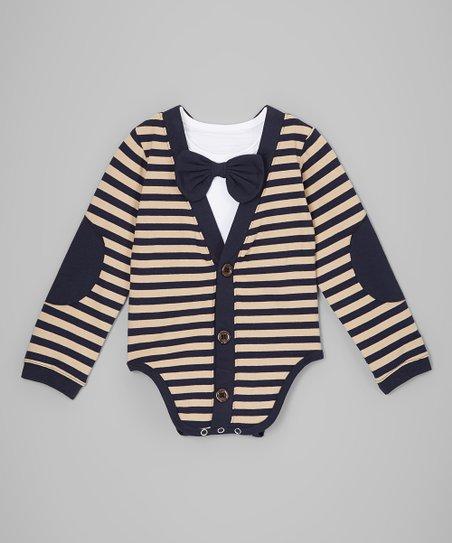 aec1af9bc Royal Gem Navy   Tan Stripe Cardigan Bodysuit - Infant
