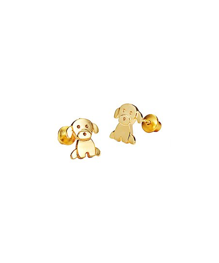 14k Gold Plated Puppy Earrings S