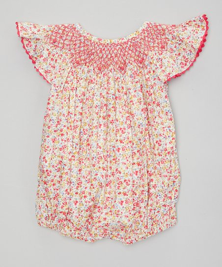 ed8232aeb8f6 love this product Pink Floral Smocked Angel-Sleeve Bubble Romper - Infant    Toddler