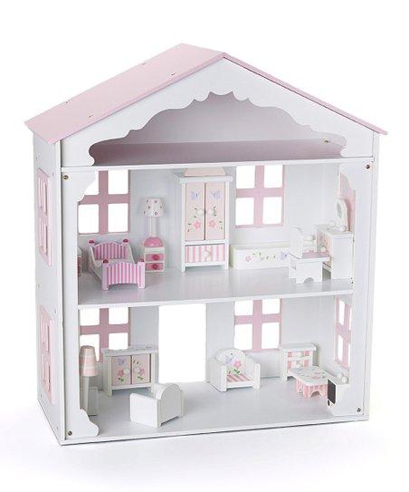 Rosalina Pink White Wooden Dollhouse Zulily