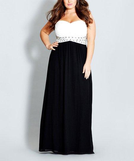 b083d7b91c19 City Chic Black & White Color Block Camilla Maxi Dress - Plus | Zulily