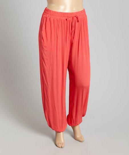 7739923dd5b9 Max Imports NY Inc. Coral Crinkle Gauze Harem Pants - Plus