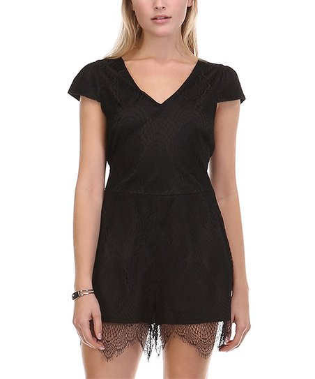 6142610ae013 love this product Black Lace Cap-Sleeve Romper