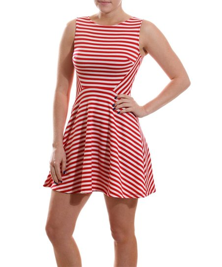 Coveted Clothing Red   White Stripe Skater Dress - Women  55a9bbbfb7