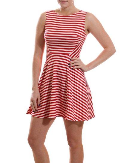 Coveted Clothing Red   White Stripe Skater Dress - Women  4be5b1913e