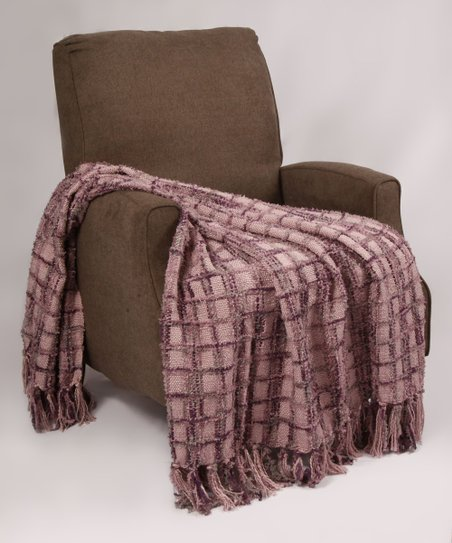 Bnf Home Inc Violet Plaid Chenille Throw Blanket Zulily