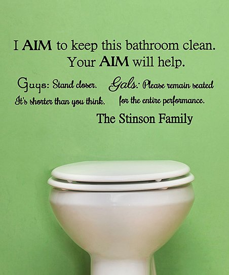 The Vinyl Company Black I Aim To Keep This Bathroom Clean Personalized Wall Decal