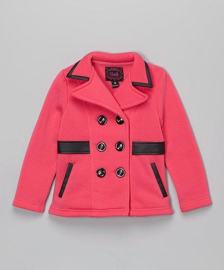 af7b5cf7e468 Unik Pink Faux Leather Trim Fleece Coat - Toddler   Girls