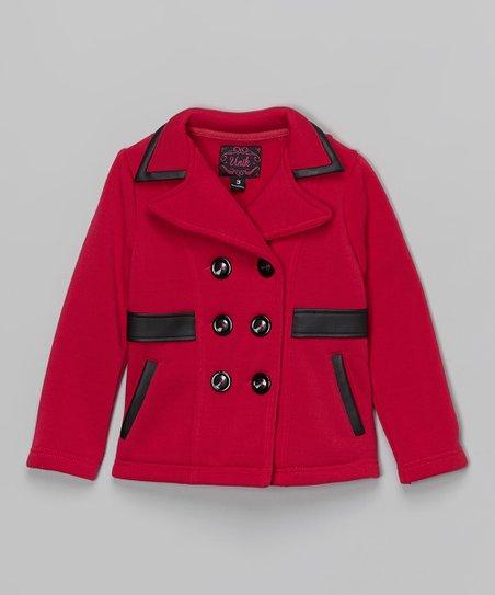 0bfbd2dd39ea Unik Fuchsia Faux Leather Trim Fleece Coat - Toddler   Girls