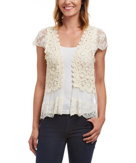 2556c6f42df60 Young Essence Beige Crochet Cap-Sleeve Open Cardigan