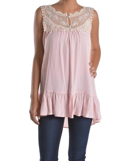 4763b98ec7508e Fashion 21 Blush Lace-Yoke Ruffle Sleeveless Top - Women