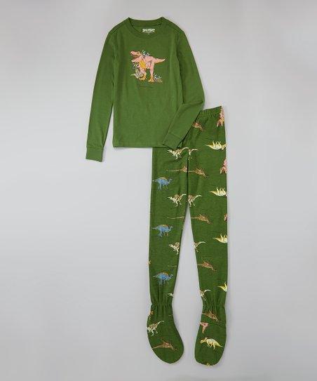 1a10dc85f11f Big Feet Pjs Green Dinosaur Footie Pajama Set - Boys