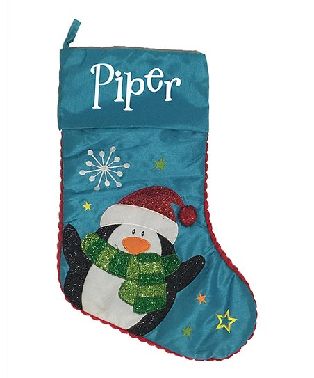 2afaae6bb39 Three Ps In A Pod Aqua Penguin Personalized Christmas Stocking