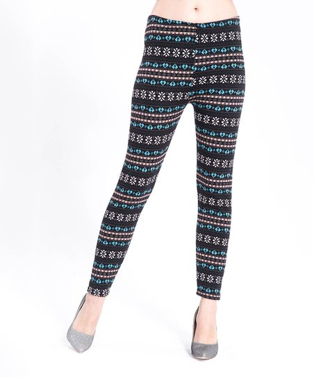 8ee5be9795be7e Ace Fashions Blue Snowflake Faux Fur-Lined Textured Leggings - Women ...