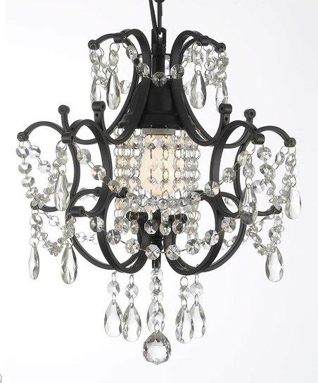 Gallery Lighting Black Wrought Iron & Crystal Chandelier