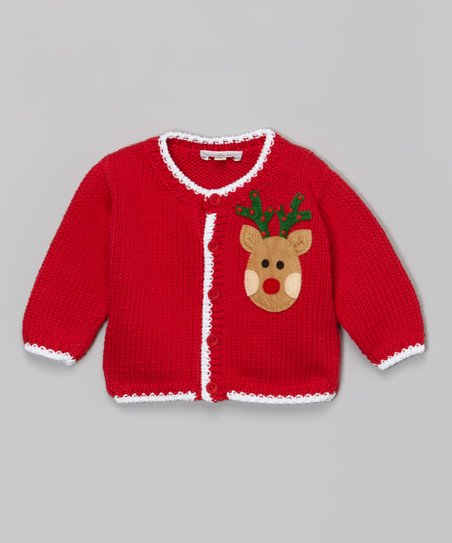ebb4bd4ec82a Holiday by Victoria Kids Red   White Reindeer Knit Cardigan - Infant ...