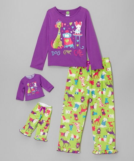 8e2e78954abc love this product Purple   Green  Dog Gone Cute  Pajama Set   Doll Outfit -  Girls