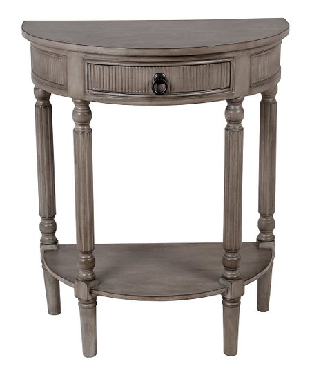 Privilege Weathered Stone Half Round Tiered Console Table