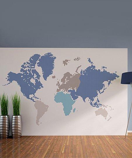 WallPops! Blue World Map Wall Decal Set | Zulily