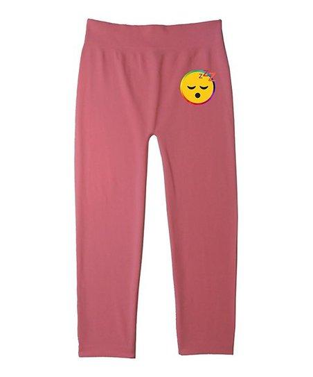 Popular Pink Sleepy Emoji Leggings - Girls