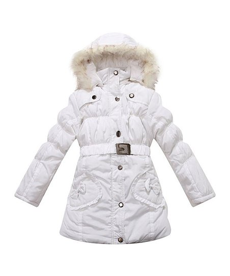 c048753eeffe Richie House Snow Bow Faux Fur-Trim Hooded Puffer Jacket - Toddler ...