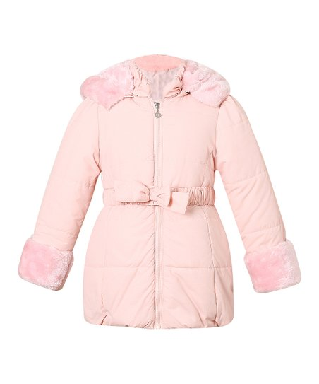 5e514371f Richie House Light Pink Faux Fur-Trim Belted Puffer Jacket - Toddler ...