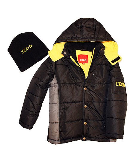 64dbf74353d5 IZOD Black   Yellow Puffer Jacket   Beanie - Toddler   Boys
