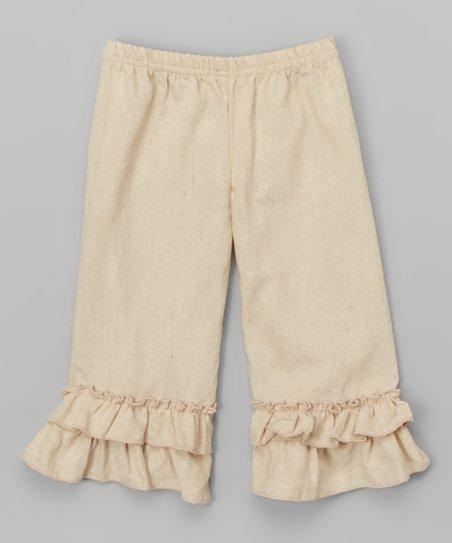 200f078805311 Sado Beige Double Ruffle Capri Pants - Infant   Girls
