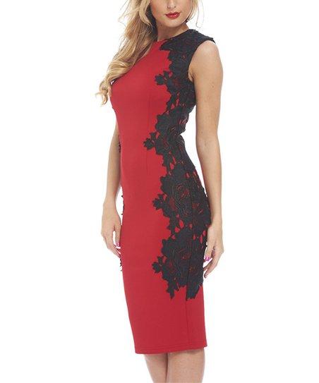 Ax Paris Red Black Lace Side Bodycon Dress Women Zulily