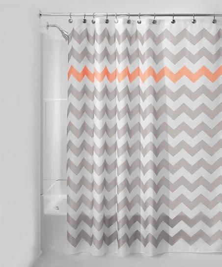 Light Gray Orange Chevron Shower Curtain