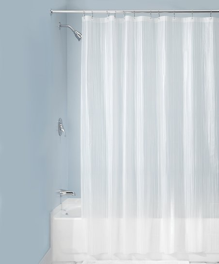 Love This Product White Striped Shower Curtain