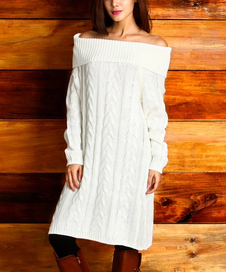 370262bb12 love this product Winter White Cable-Knit Convertible Sweater Dress - Women