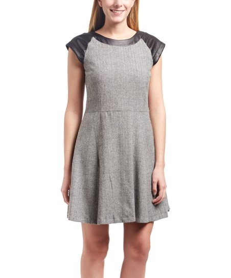 0305620c62b3 Amelia Black & Gray Cap Sleeve Swing Dress | Zulily