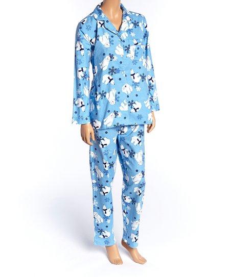 212a6de40a La Cera Blue Polar Bear Flannel Pajama Set - Plus