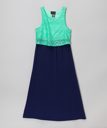 2 Hip By Wrapper Mint Green Navy Blue Lace Overlay Maxi Dress