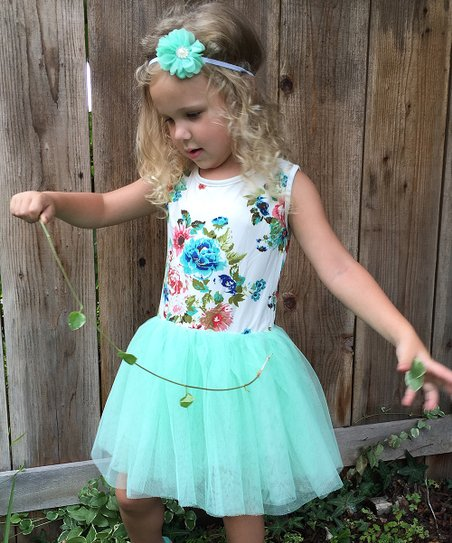 dd00eb6411 love this product Mint   White Floral Tutu Tank Dress - Toddler   Girls