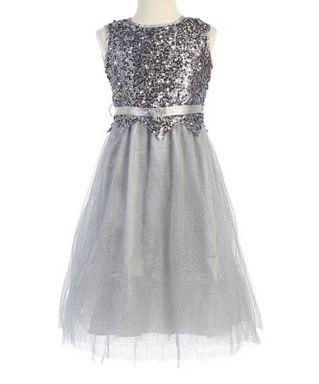 5c4ce5b9 Bijan Kids Silver Sequin Dress - Toddler & Girls | Zulily