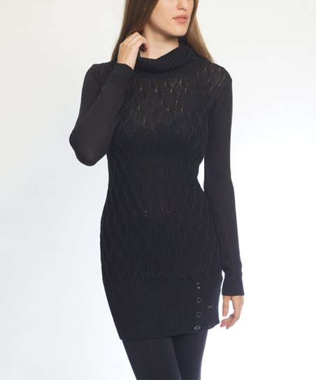 So Nice Collection Black Button Accent Cowl Neck Sweater Dress
