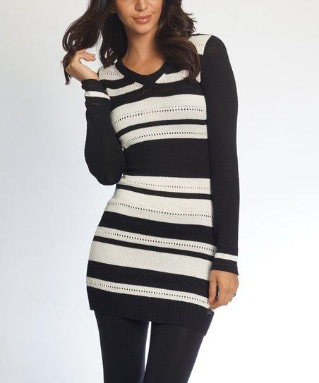 V So Collection Stripe Nice White Sweater DressZulily Blackamp; Neck O8nP0kwX