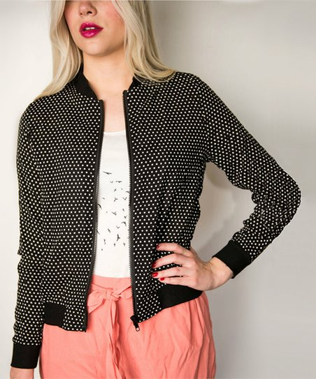 78906bb97521d Cents of Style Black   White Polka Dot Bomber Jacket - Women
