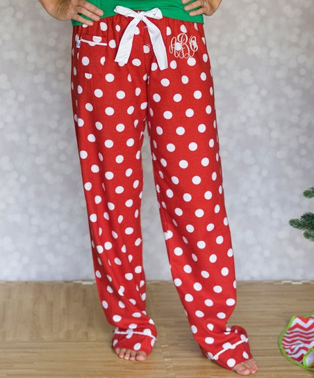Aggie Gray Red White Polka Dot Monogram Pajama Pants Zulily