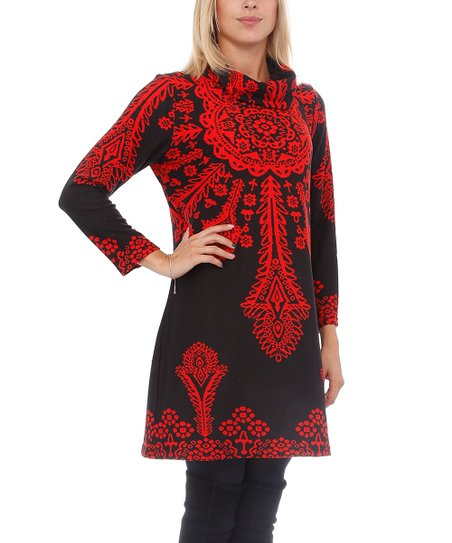 6abe7a31e Highness NYC Black & Red Ornate Cowl Neck Sweater Dress   Zulily