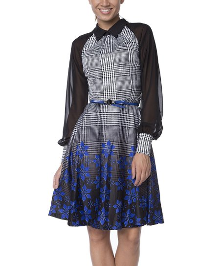 1c5a5de30cca love this product Blue Plaid   Floral Puff-Sleeve A-Line Dress