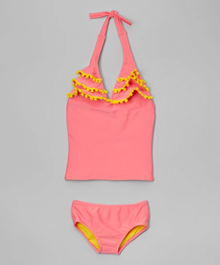 45174a3103132 Lemons & Limes Kids Swimwear Pink & Yellow Pom-Pom Tankini - Girls ...